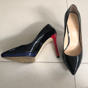 Red blue and black patent heels